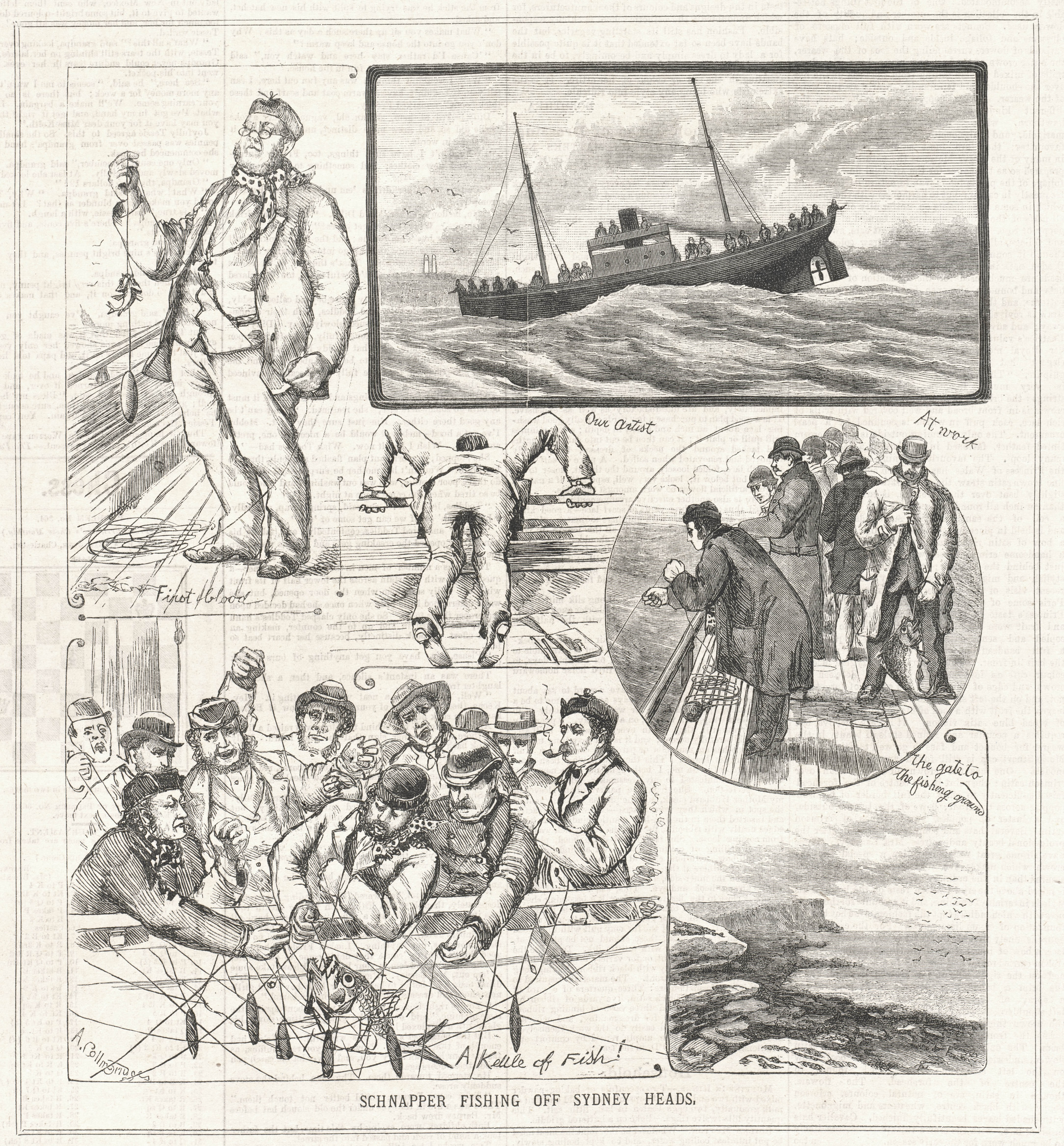 Snapper Fishing Off Sydney Heads, from the Sydney Mail, 26 August 1893