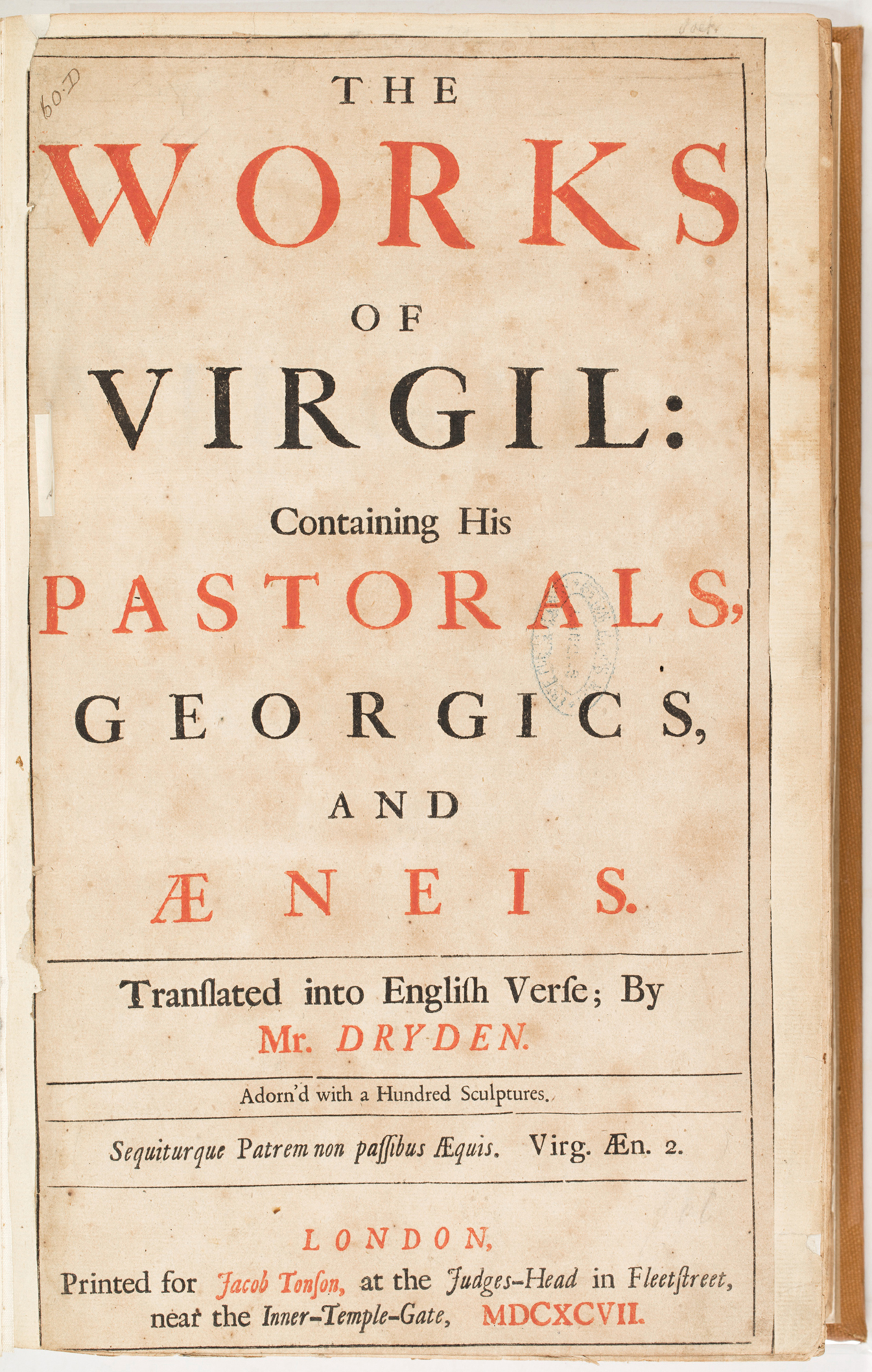 The works of Virgil: containing his Pastorals, Georgics, and Aeneis, 1697, by John Dryden