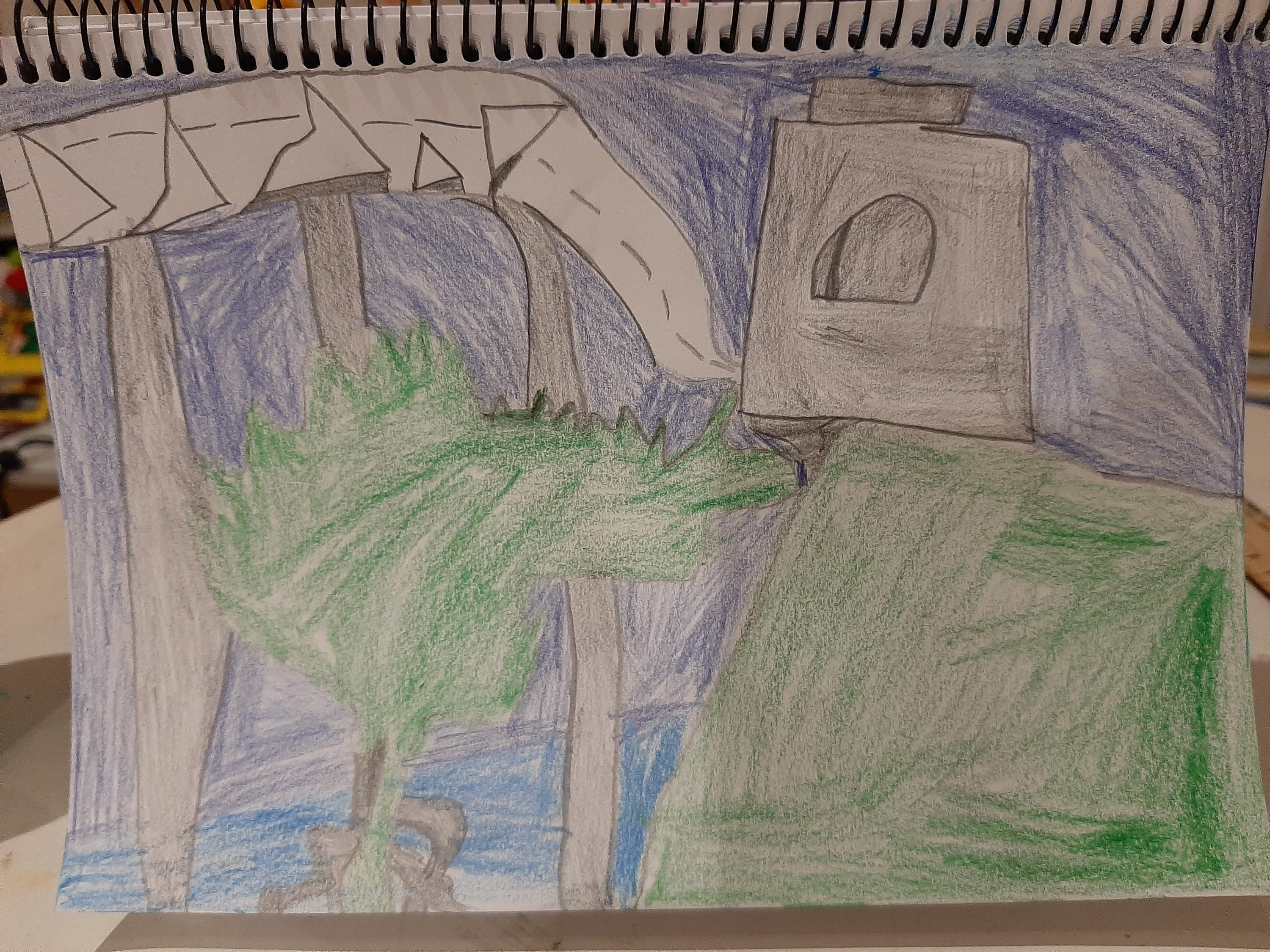 A hand drawn image of the Sydney Harbour Bridge from an Art Club member