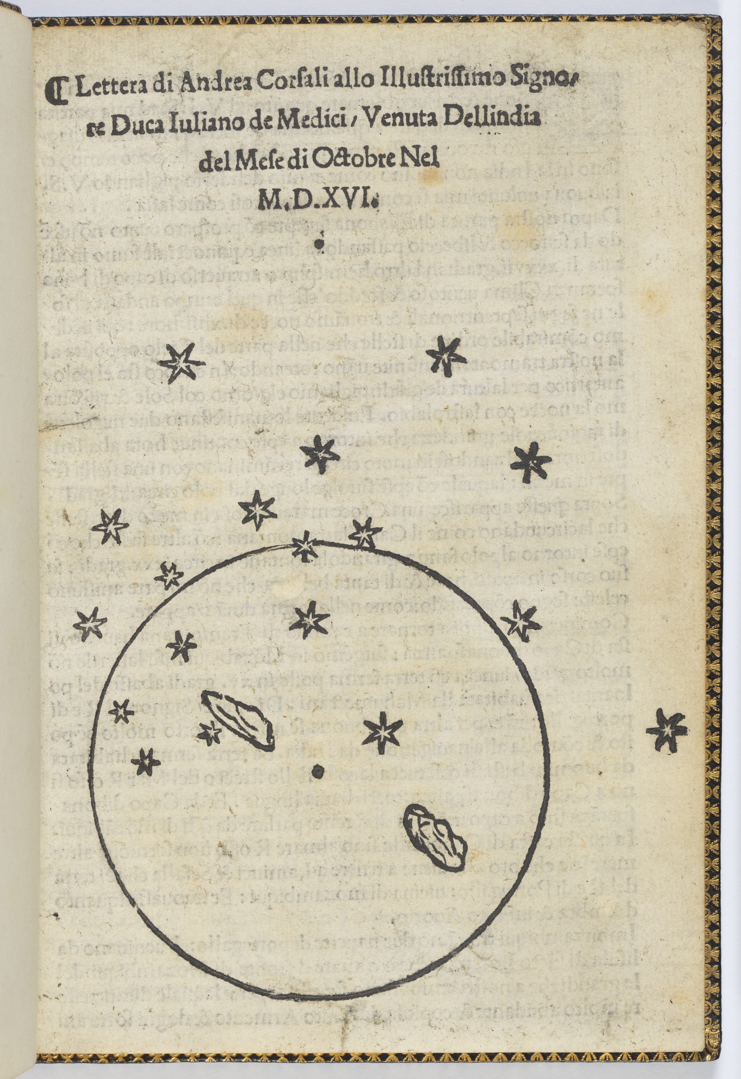 Page of an old book showing a sketch of a planet with constellation of stars.
