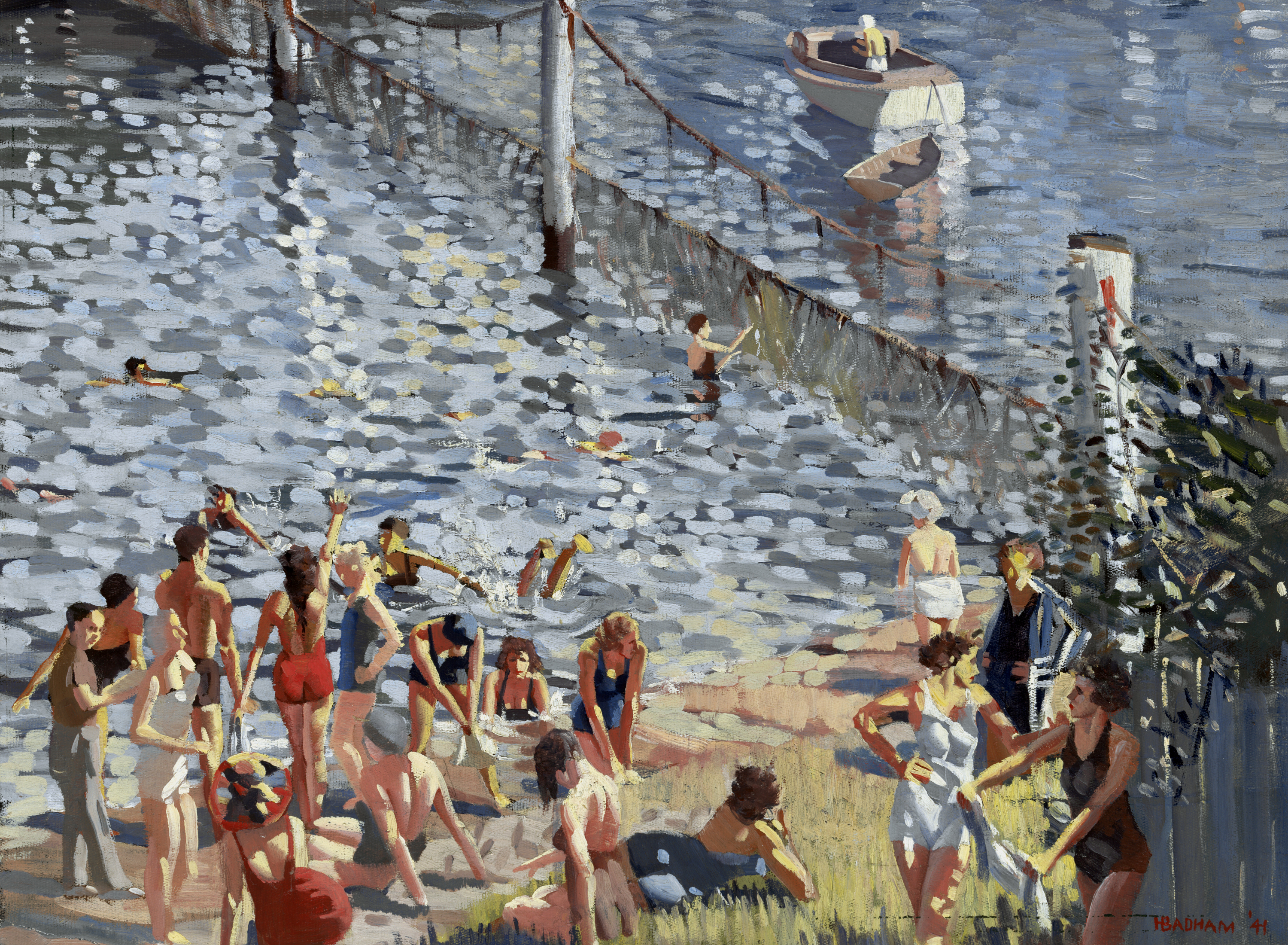 Painting of a scene at an enclosed swimming area of a natural body of water.