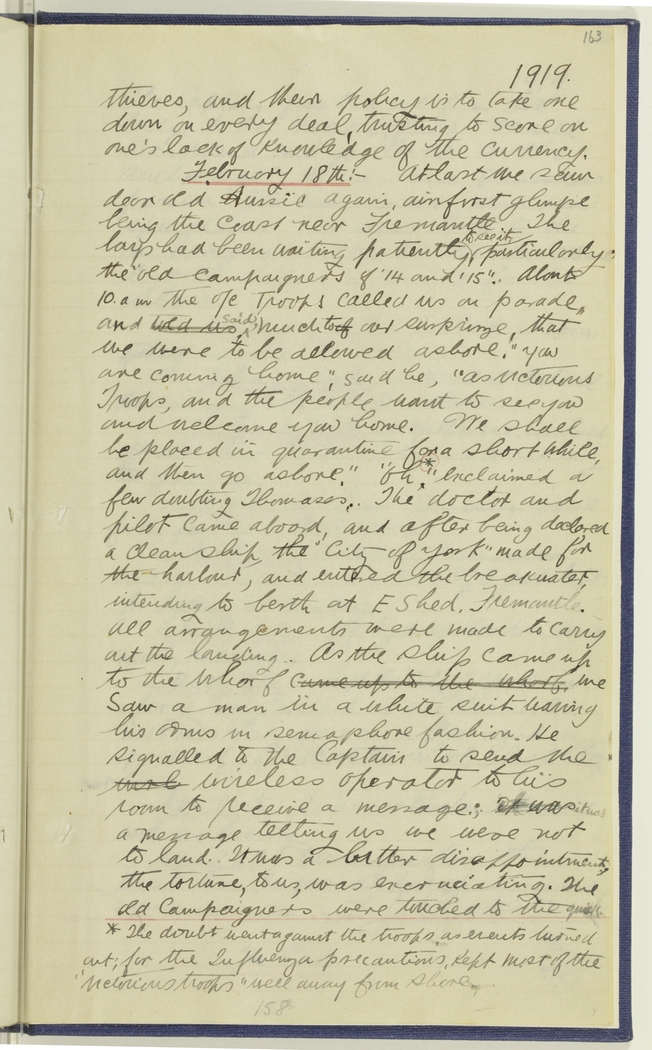 Page of handwritten English text which can be seen is part of a book or notebook. It's dated 1919 in the top right corner.