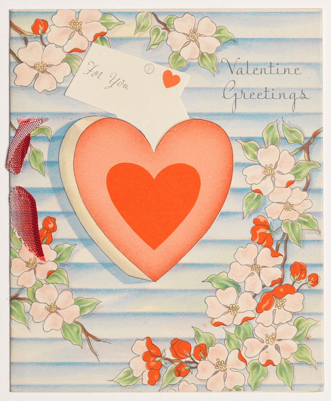 "Cover of a Valentine's Day card with illustrated hearts and flowers titled ""Valentine Greetings, For You"""