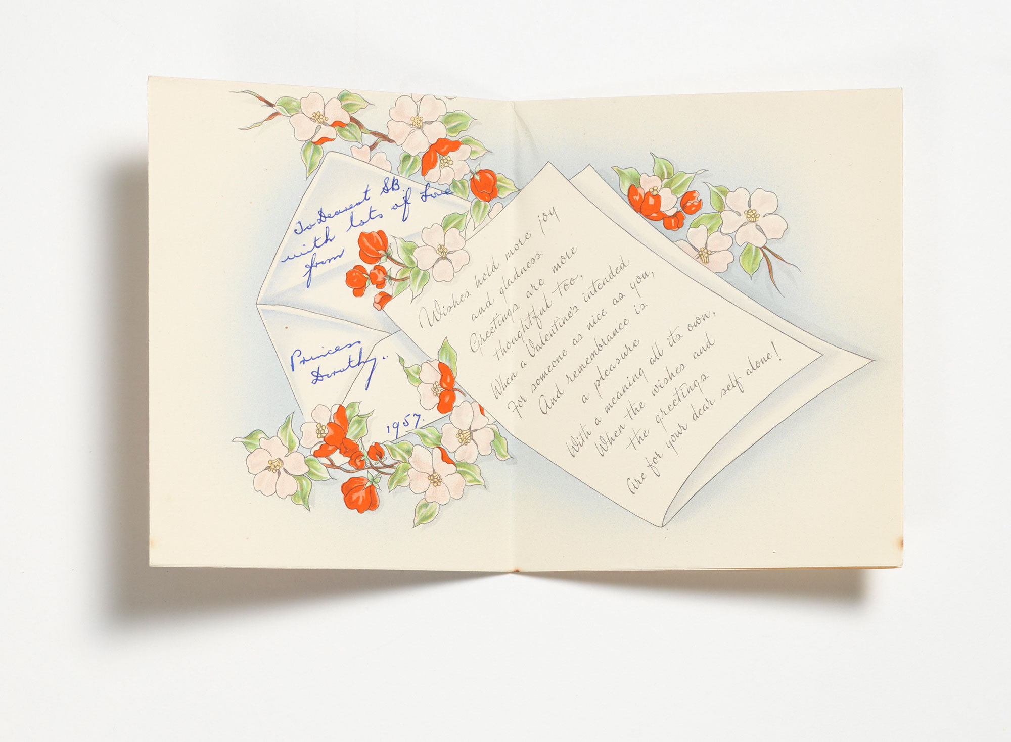 Inside of a Valentine's Day greeting card, with a romantic message on a graphic of a letter.