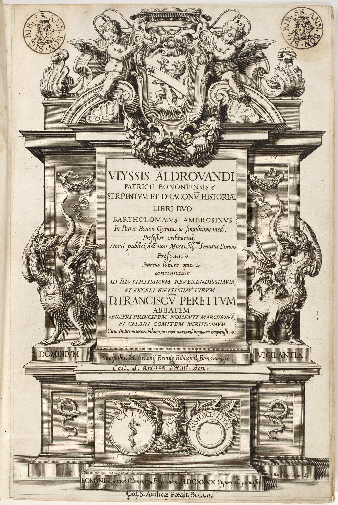 Vlyssis Aldrovandi patricii Bononiensis Serpentum, et draconu[m] historiae libri duo, 1640, by Vlyssis Aldrovandi