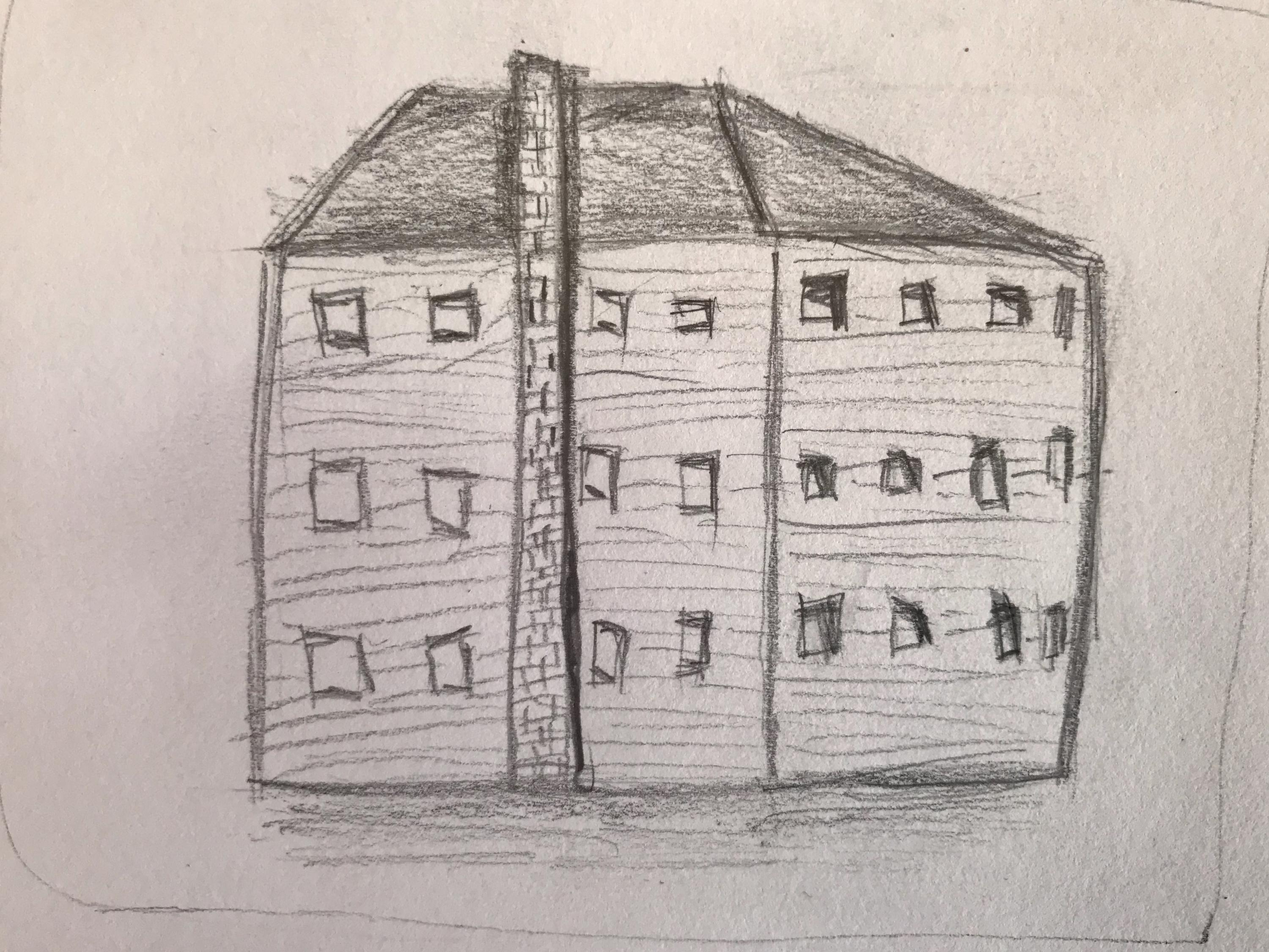 A drawing created by an Art Club member of a building