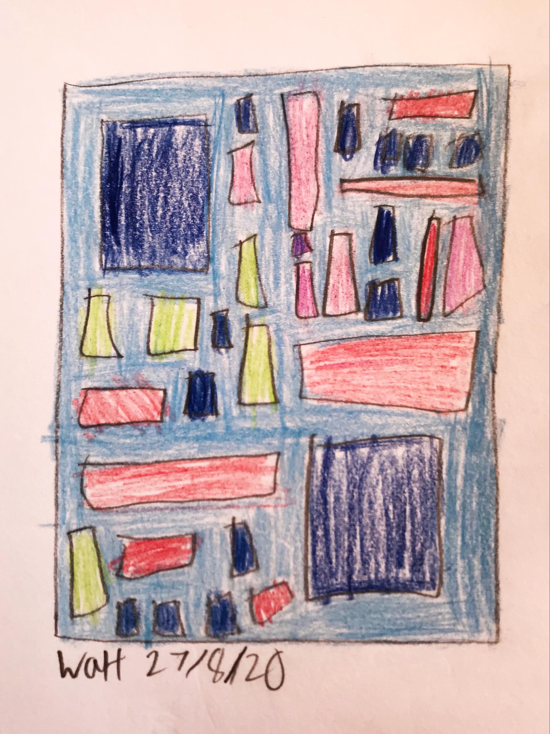 A hand drawn image of a bookshelf made by an art club member