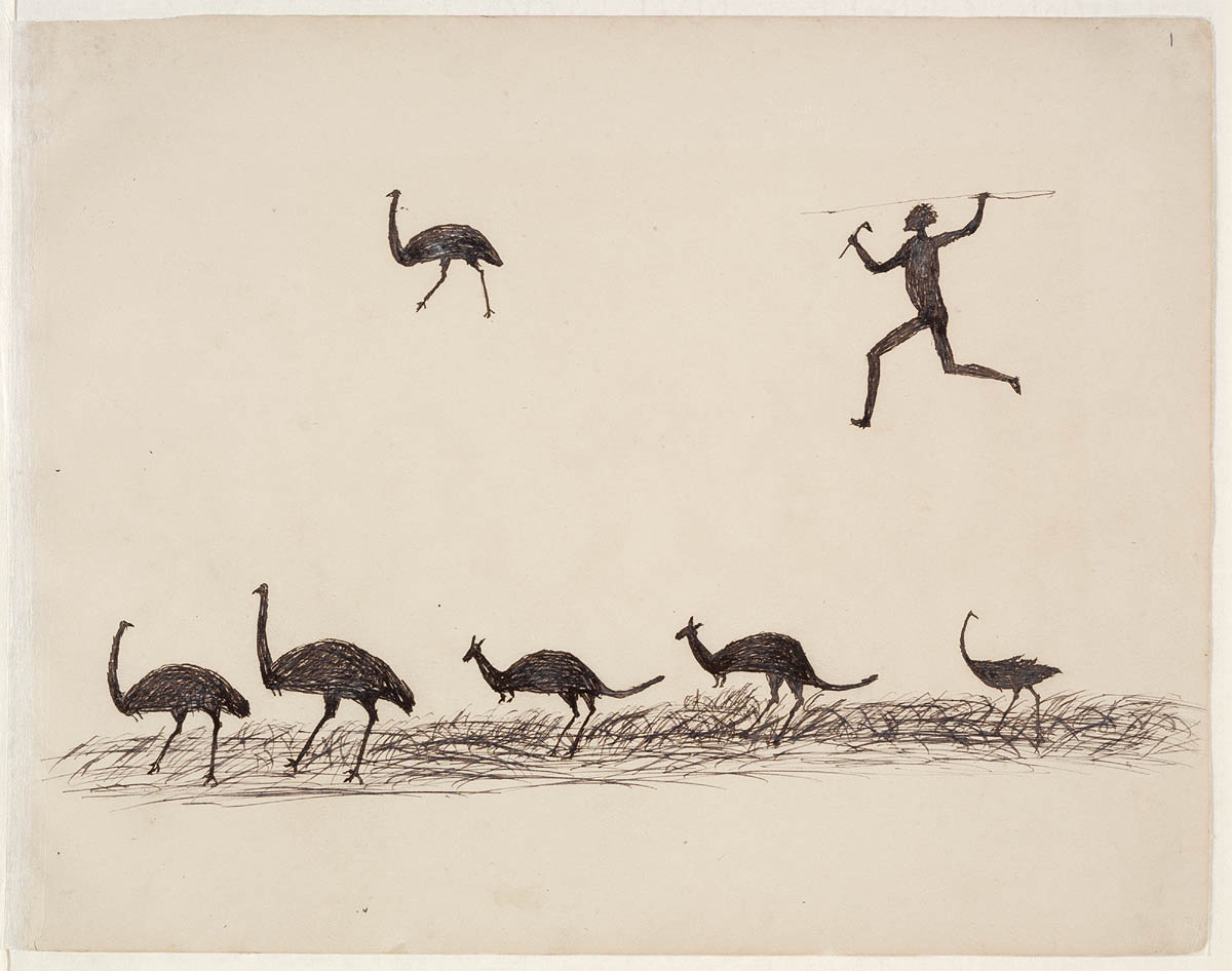 Man with spear and line of emus
