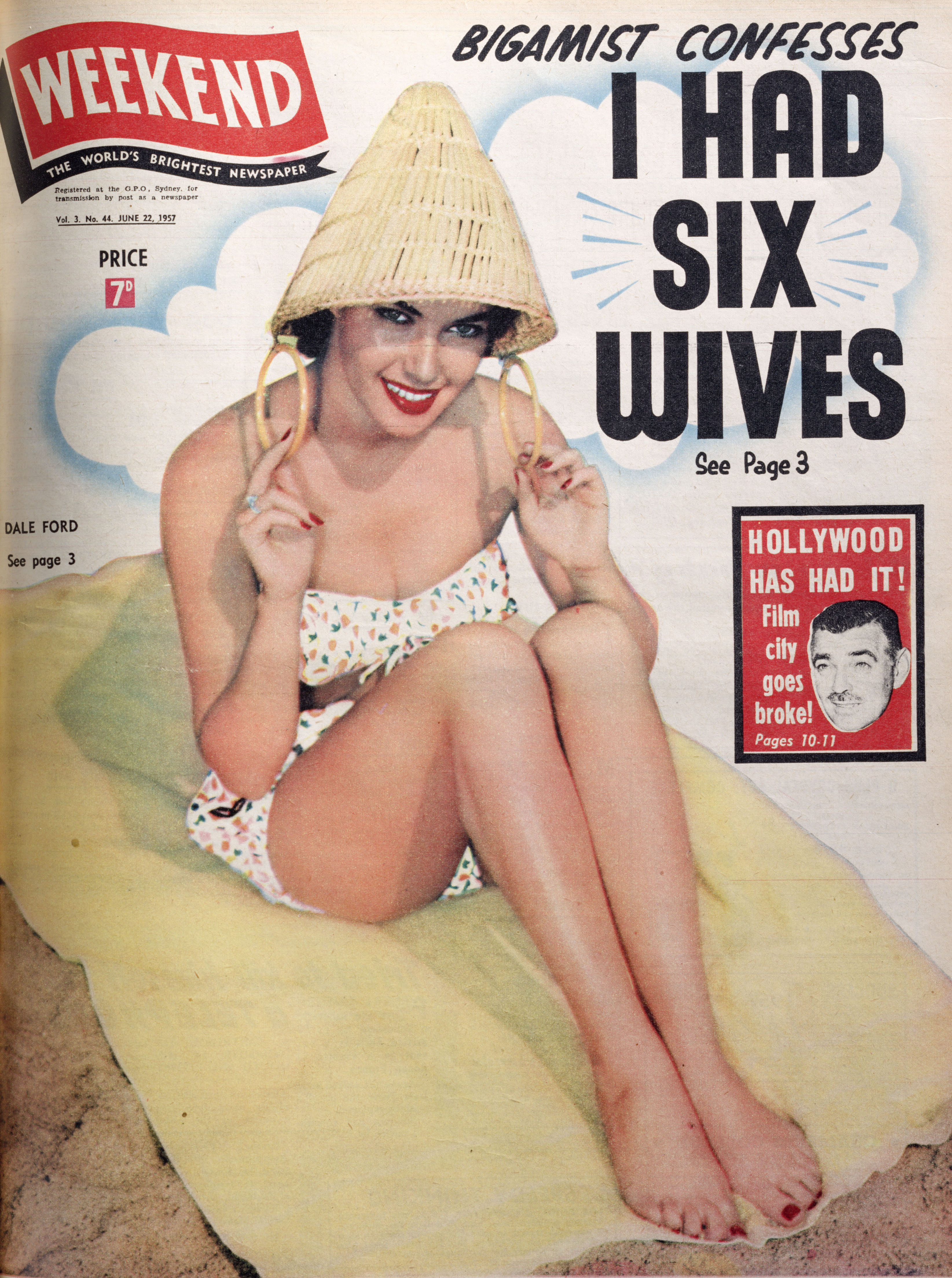 "An old magazine cover, featuring a woman wearing a swimsuit and a cone-shaped, bamboo hat and the headline: ""Bigameist confesses 'I had six wives'""."