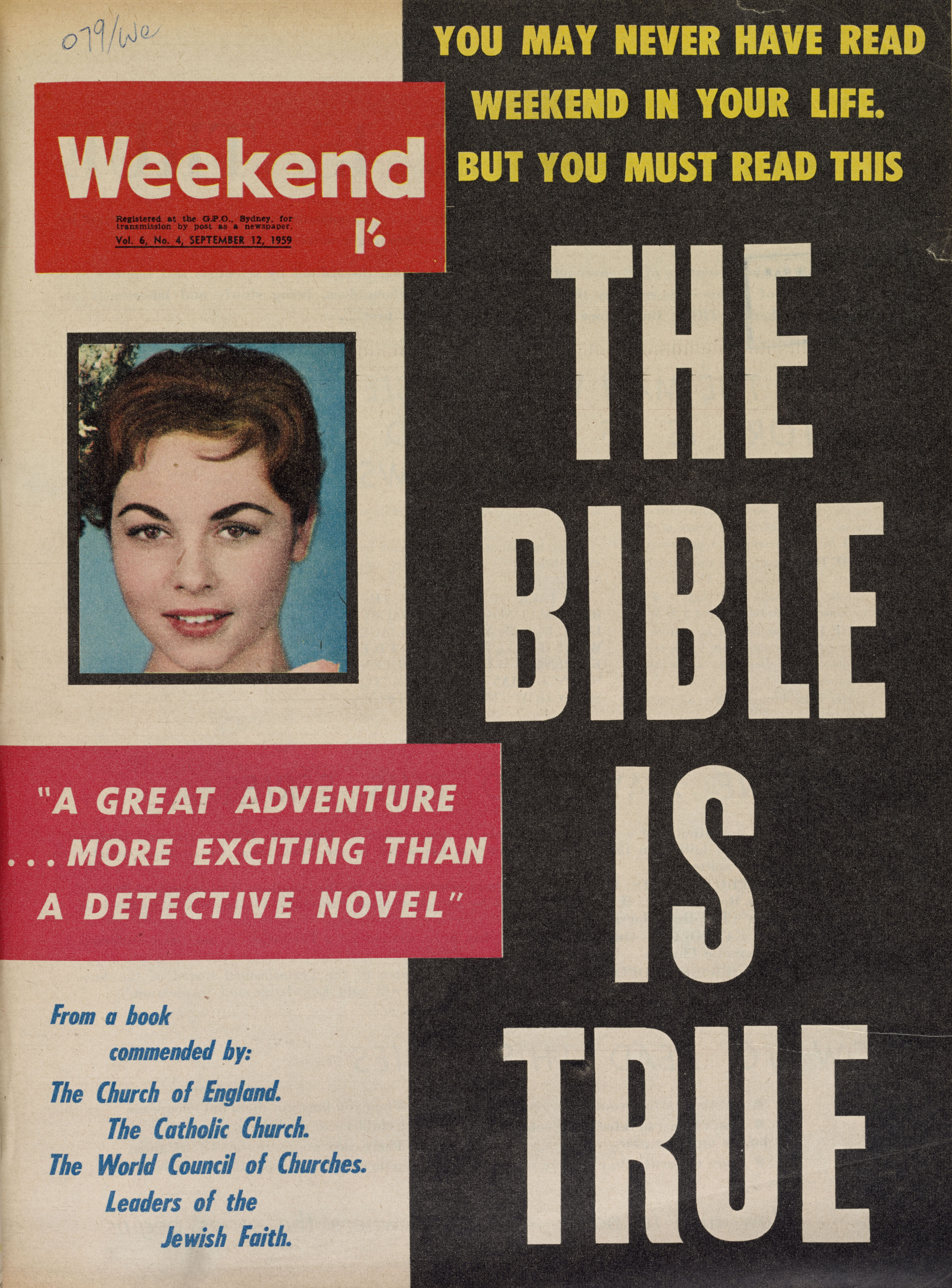 "An old magazine cover, featuring a photo of a smiling girl and headlined ""THE BIBLE IS TRUE""."