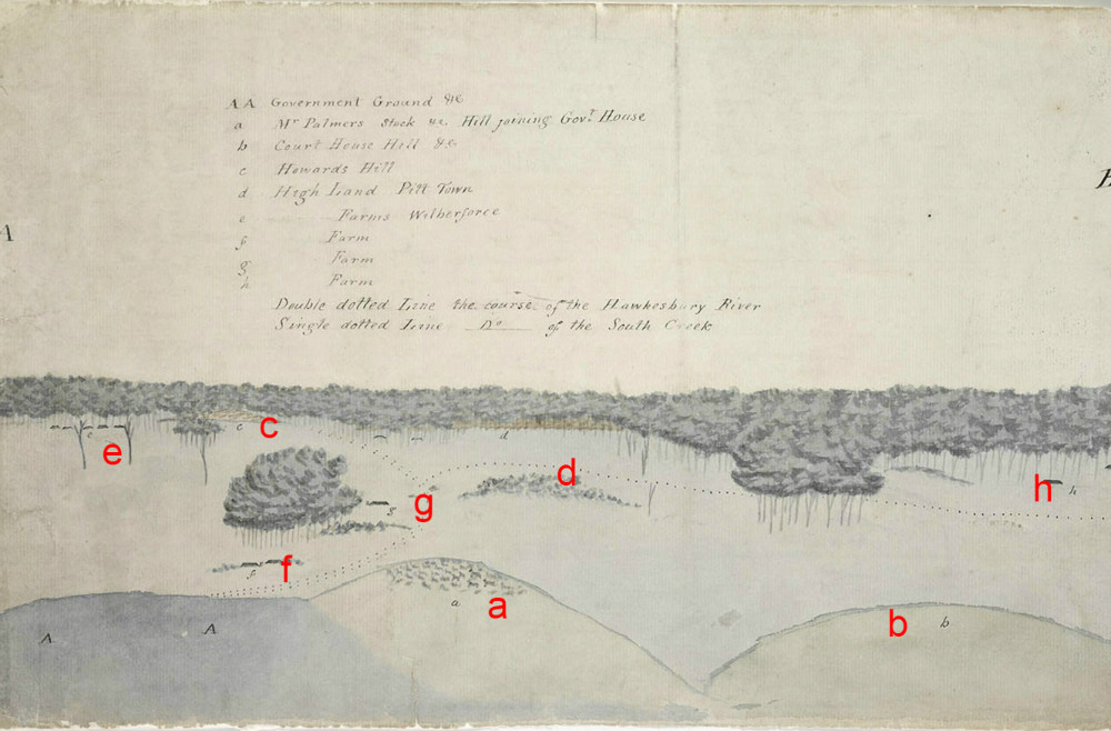 Section AB, Sketch of the Inundation in the Neighbourhood of Windsor taken on Sunday the 2nd of June 1816, By unknown, State Library of New South Wales, PX*D 264, (red letters added to aid orientation)