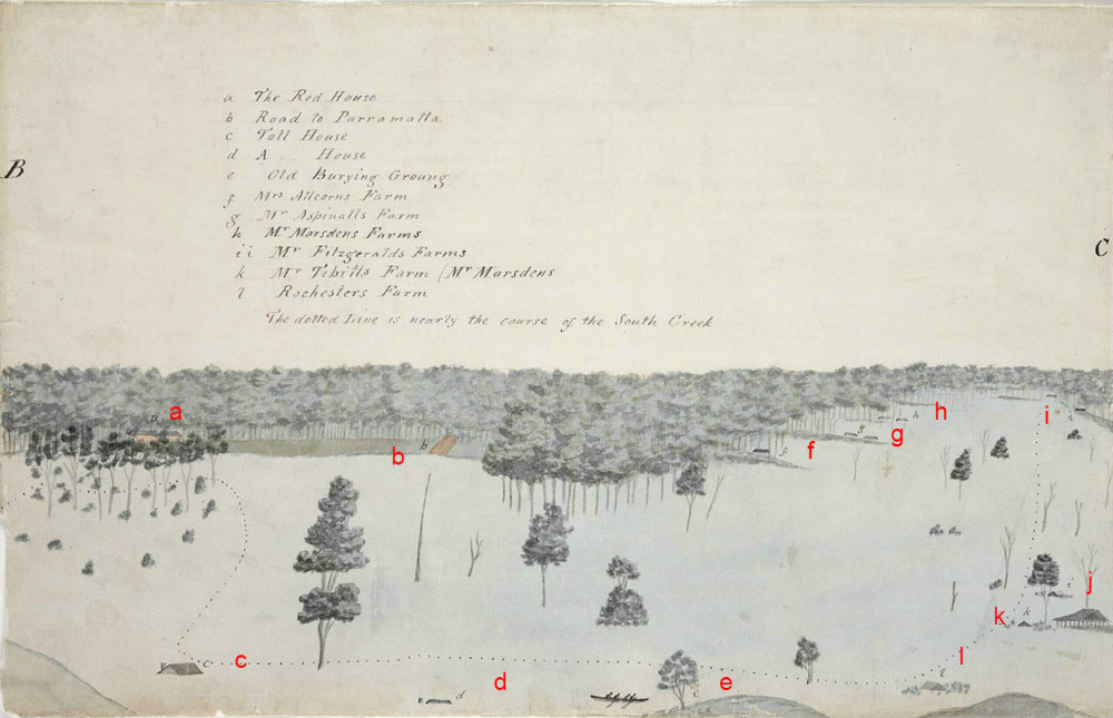 Section BC, Sketch of the Inundation in the Neighbourhood of Windsor taken on Sunday the 2nd of June 1816, By unknown, State Library of New South Wales, PX*D 264, (red letters added to aid orientation)
