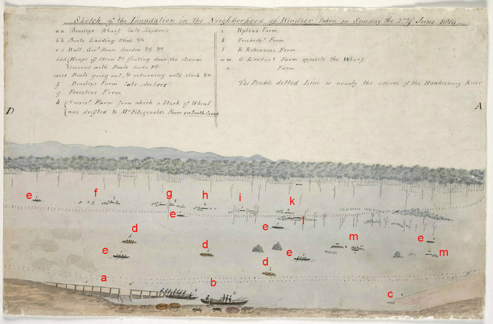 Section DA, Sketch of the Inundation in the Neighbourhood of Windsor taken on Sunday the 2nd of June 1816, By unknown, State Library of New South Wales, PX*D 264, (red letters added to aid orientation)