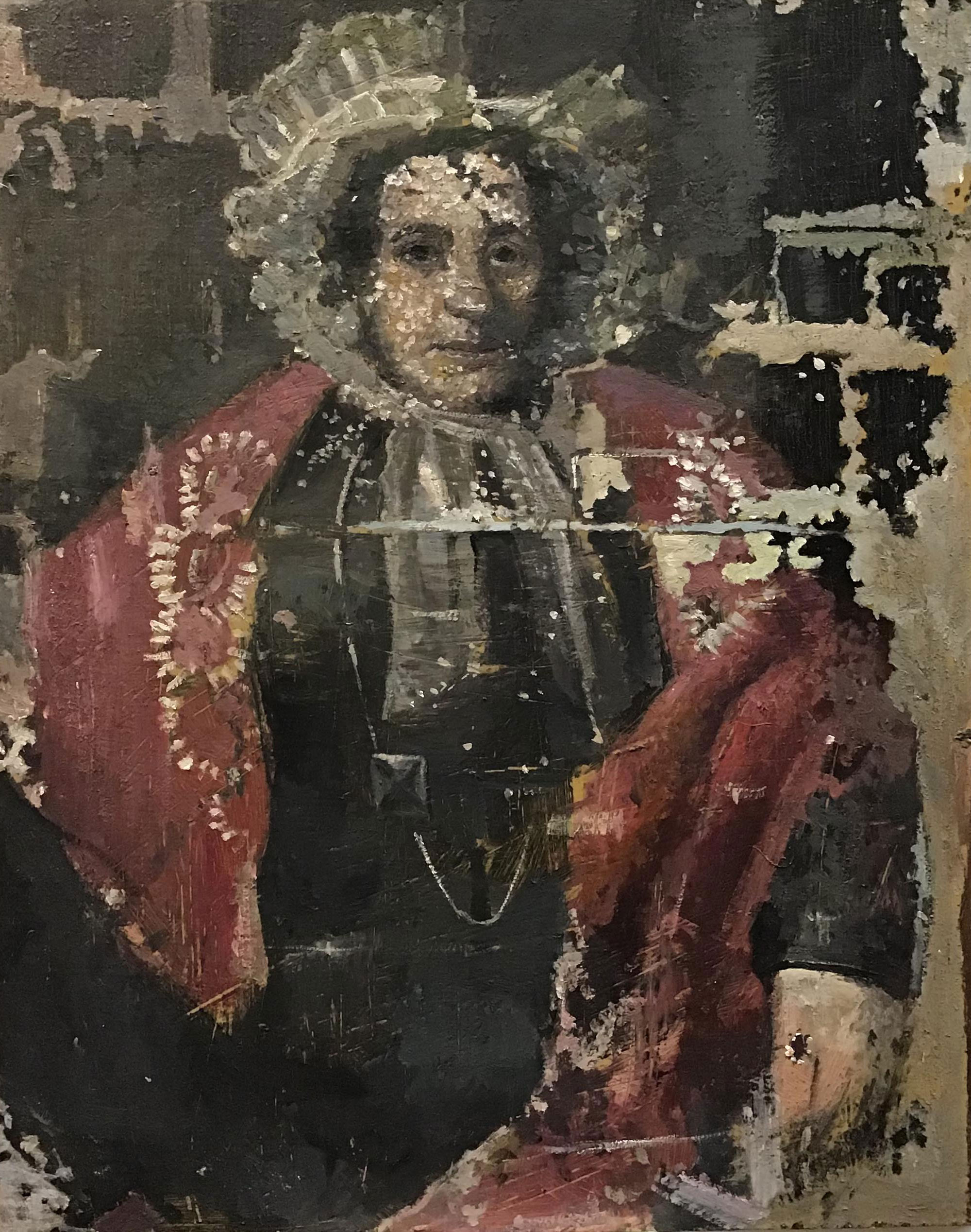 Hadyn Wilson painting in response to Portrait of Winefred Redmond by Maurice Felton, 1841