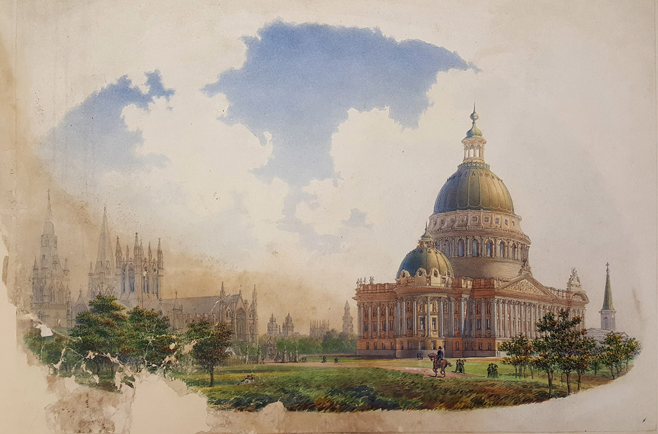 Proposed National Museum, view from Hyde Park looking north-east, James Barnet, Government Architect,