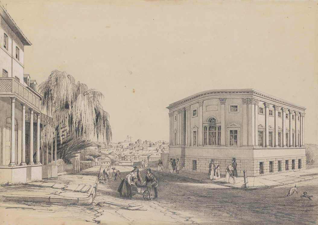 The Subscription Library, Bent Street, built 1843-5, Sketches of Sydney, 1843-1847, Jacob William Jones, State Library of New South Wales, DGA 32