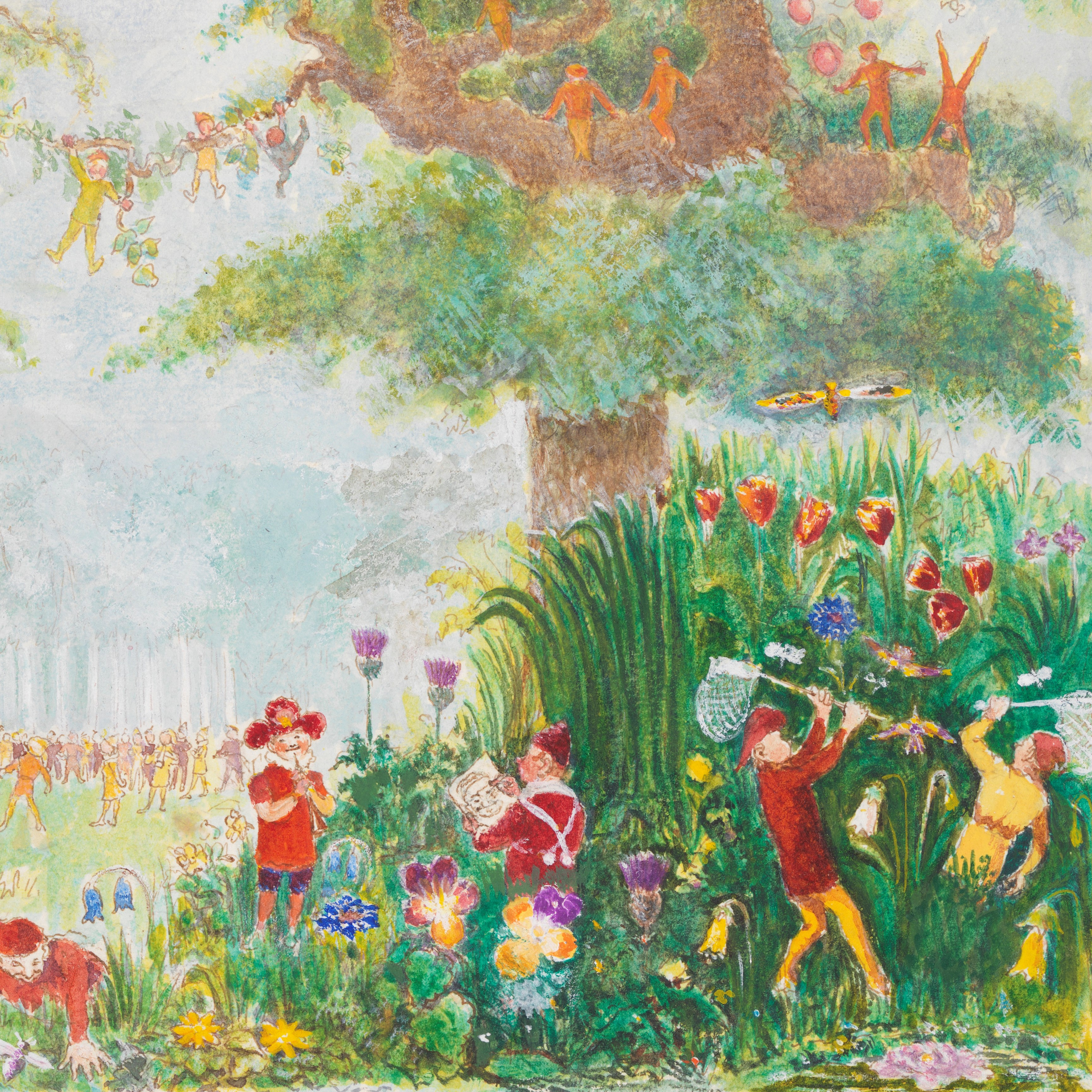Elves playing in a forest scene